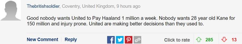 Tốt đấy, chẳng ai muốn MU trả cho Haaland 1 triệu bảng mỗi tuần. Và cũng không ai thích thú với một Harry Kane 28 tuổi có giá 150 triệu bảng, kèm theo đó là tiểu sử chấn thương đáng quan ngại. MU đang đưa ra những quyết định sáng suốt hơn họ đã từng trong quá khứ